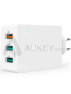 AUKEY PA-T2 chargeur mural 42W 3 ports Quick Charge 2.0 (Blanc)