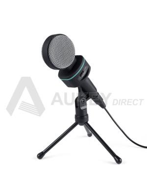 AUKEY MI-W1 - Aukey Microphone à condensateur avec trépied de table kinke 3,5 mm pour ordinateurs de bureau