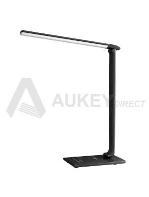 AUKEY LT-T10 - Lampe de Bureau Pliable, Lumière de Table LED 12W avec USB,Contrôle Tactile, Mini Veilleuse et Minuteur, Noire