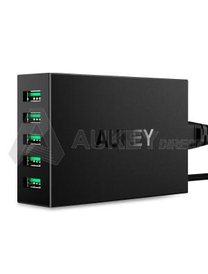 AUKEY Chargeur Secteur USB 5 Ports 50W 10A pour smartphones et tablettes pc (Noir) PA-U33