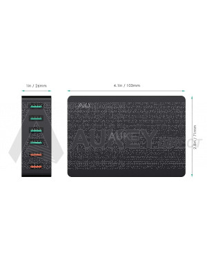 AUKEY PA-T11 - Quick Charge 3.0 Chargeur USB Secteur 6 Ports 60W Chargeur Voyage pour Samsung Galaxy S8 / S8+ / Note 8, LG G5 / G6, Nexus, HTC 10, iPhone XS / XS Max / XR, iPad Pro/ Air, Moto G4 etc.
